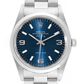 Rolex Air King 34 Domed Bezel Blue Dial Steel Mens Watch 14000