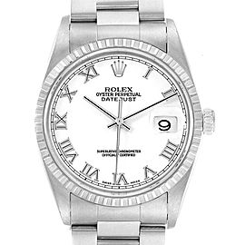 Rolex Datejust 36 White Roman Dial Steel Mens Watch 16220