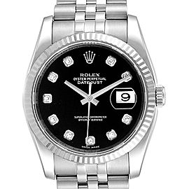 Rolex Datejust 36 Steel White Gold Black Diamond Dial Mens Watch 116234