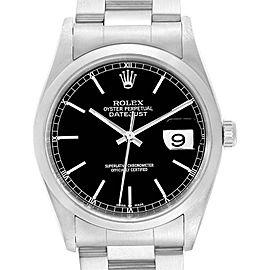 Rolex Datejust Black Dial Oyster Bracelet Steel Mens Watch 16200