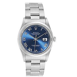 Rolex Datejust 36 Blue Roman Dial Domed Bezel Steel Mens Watch 16200