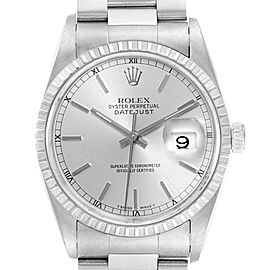 Rolex Datejust Silver Baton Dial Steel Mens Watch 16220 Box Papers