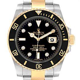 Rolex Submariner Steel 18K Yellow Gold Black Diamond Dial Watch 116613