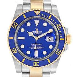 Rolex Submariner Blue Dial Steel Yellow Gold Mens Watch 116613 Box Card