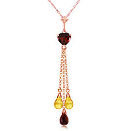 14K Solid Rose Gold Necklace with Briolette Garnets & Citrines