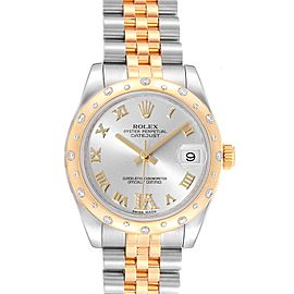 Rolex Datejust 31 Midsize Steel 18K Yellow Gold Diamond Watch 178343