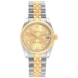 Rolex Datejust Midsize 31 Steel Yellow Gold Diamond Ladies Watch 178273