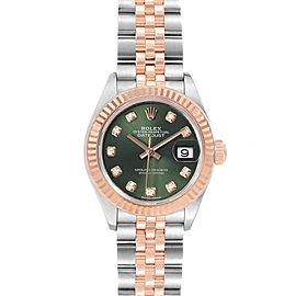 Rolex Datejust Steel Rose Gold Olive Green Diamond Ladies Watch 279171