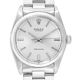Rolex Precision Vintage Stainless Steel Silver Dial Mens Watch 6426