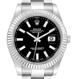Rolex Datejust II 41mm Steel White Gold Black Dial Mens Watch 116334