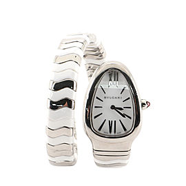 Bvlgari Serpenti Tubogas Single Spiral Quartz Watch Stainless Steel and Ceramic 25