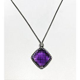 David Yurman Sterling Silver 014ct Diamond Amethyst Necklace