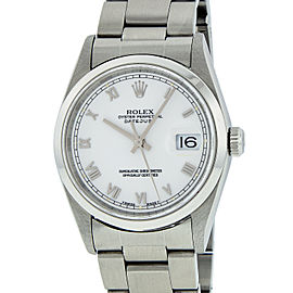 Rolex Datejust 16200 Stainless Steel White Roman Dial Automatic 36mm Mens Watch