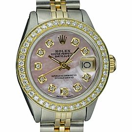 Rolex Datejust 6917 Stainless Steel and Yellow Gold with Diamond and Mother of Pearl 26mm Automatic Women Vintage Watch
