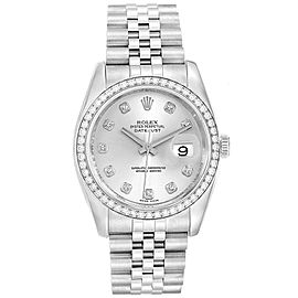 Rolex Datejust 36 Silver Diamond Dial Bezel Mens Watch 116244