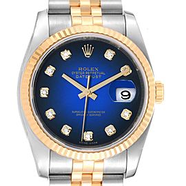 Rolex Datejust Steel Yellow Gold Blue Vignette Diamond Mens Watch 116233