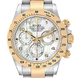 Rolex Daytona MOP Dial Steel Yellow Gold Chronograph Mens Watch 116523