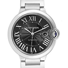Cartier Ballon Bleu 42mm Black Guilloche Dial Steel Mens Watch W6920042