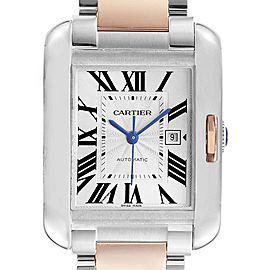 Cartier Tank Anglaise Large Steel 18K Rose Gold Watch W5310007 Box