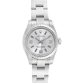 Rolex Nondate Steel White Gold Blue Hour Markers Ladies Watch 176234