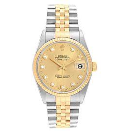 Rolex Datejust Steel 18K Yellow Gold Diamond Dial Mens Watch 16233