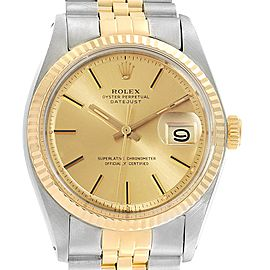 Rolex Datejust Steel Yellow Gold Fluted Bezel Vintage Mens Watch 1601