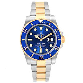Rolex Submariner Blue Dial Steel Yellow Gold Mens Watch 116613