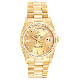 Rolex President Day-Date 36 Yellow Gold Diamonds Mens Watch 18238