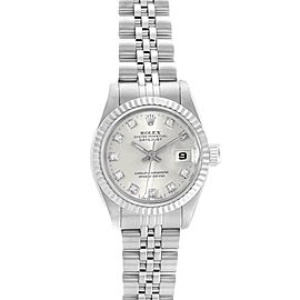 Rolex Datejust Steel White Gold Silver Diamond Dial Ladies Watch 69174