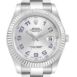 Rolex Datejust II 41 Steel White Gold Fluted Bezel Watch 116334 Box
