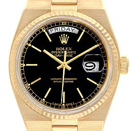 Rolex Oysterquartz President Yellow Gold Black Dial Mens Watch 19018