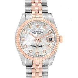 Rolex Datejust Midsize Steel Rose Gold MOP Diamond Ladies Watch 178271