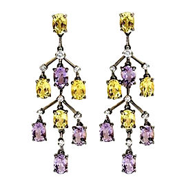 Laura Munder 18K Gold Amethyst Lemon Citrine Dangle Earrings