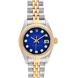 Rolex Datejust Steel 18K Yellow Gold Vignette Diamond Ladies Watch 69173