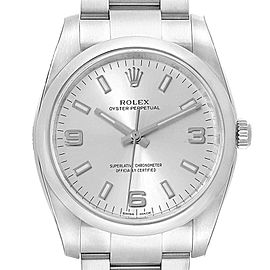 Rolex Oyster Perpetual Silver Dial Domed Bezel Mens Watch 114200 Unworn