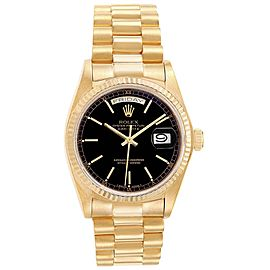 Rolex President Day-Date Yellow Gold Black Dial Mens Watch 18038