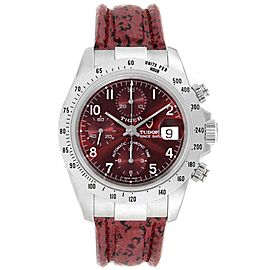 Tudor Tiger Woods Chronograph Burgundy Dial Steel Mens Watch 79280P