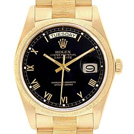Rolex President Day-Date Yellow Gold Black Roman Dial Mens Watch 18038