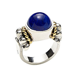 Lagos Lapis Sterling Silver & 18K Gold Caviar Ring