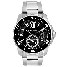 Calibre De Cartier Black Dial Automatic Steel Mens Watch W7100057