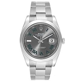 Rolex Datejust 41 Grey Dial Green Roman Numerals Steel Mens Watch 126300