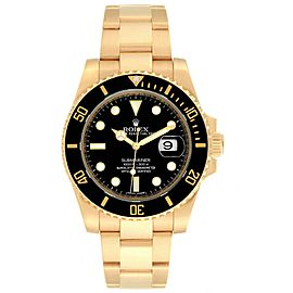 Rolex Submariner Black Dial Yellow Gold Mens Watch 116618