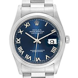 Rolex Datejust 36 Blue Dial Oyster Bracelet Steel Mens Watch 16200