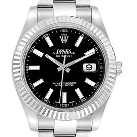 Rolex Datejust II 41mm Steel White Gold Black Dial Mens Watch 116334