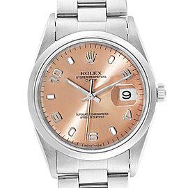 Rolex Date Salmon Dial Domed Bezel Steel Mens Watch 15200