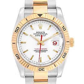 Rolex Datejust Turnograph Steel Yellow Gold Red Hand Mens Watch 116263