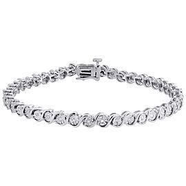 925 Sterling Silver 0.09ct Diamond S-Link Tennis Bracelet