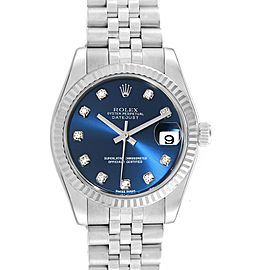Rolex Datejust Midsize Steel White Gold Blue Diamond Dial Watch 178274