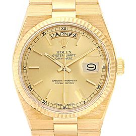 Rolex Oysterquartz President Yellow Gold Champagne Dial Mens Watch 19018