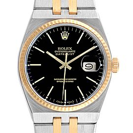 Rolex Oysterquartz Datejust Steel Yellow Gold Black Dial Watch 17013